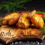 Картофель с салом на углях